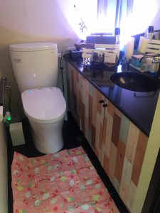 ロビーお手洗い…腰から上の大鏡、靴を脱げるようレジャーシート完備。